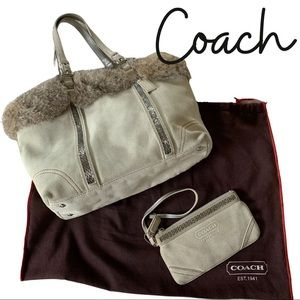 Vintage COACH Fox Fur Trimmed tote with Wristlet